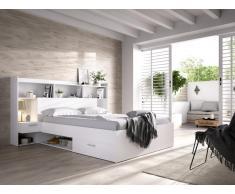 Letto con scomparti portaoggetti e comodini integrati 140 x 190 cm Bianco - KEVIN