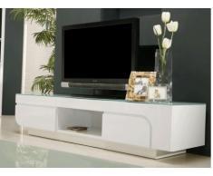 Mobile TV BRADY - MDF laccato bianco e vetro temperato - 2 porte e 1 nicchia