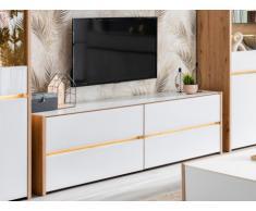 Mobile TV con LED e 4 cassetti Rovere e bianco - KASTIL