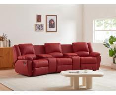 Divano relax a 3 posti in cuoio Rosso - AROMA