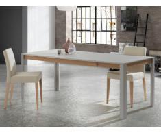 Tavolo da pranzo allungabile LEANDRE - da 6 a 8 coperti - MDF laccato - Grigio e quercia