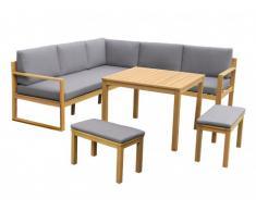 Salotto da giardino angolare sollevabile CAPELLI in legno di eucalipto: un divano angolare, 2 panche e 1 tavolo - Seduta grigia