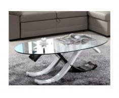 Tavolino bicolore in Vetro temperato Colore nero e bianco - INFINITY II