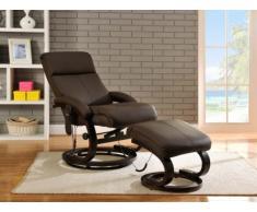 Poltrona massaggiante RODRIGO in cuoio - Marrone