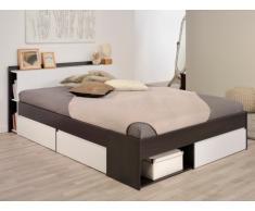 Letto DEBAR con scomparti portaoggetti - modulabile 160x200 cm - Bianco e wengé