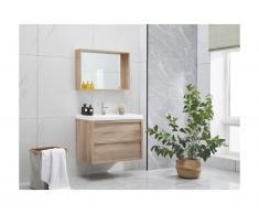 Set mobile per il bagno con specchio effetto Legno 80 cm - QUADRA