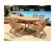Sala da pranzo da giardino BYBLOS - Teak: 1 tavolo allungabile L120/170cm + 2 poltrone + 4 sedie