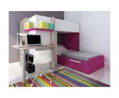 Letto a castello SAMUEL - 2 x 90 x 190 cm - Scrivania integrata - Pino bianco e rosa