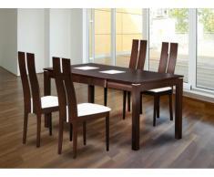 Set modulare tavolo + 4 sedie SALENA - Faggio massello - Colore wengé