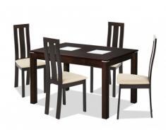 Set Tavolo SALENA + 4 sedie DOMINGO - Faggio massello - Colore wengé