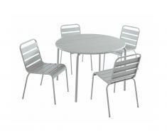 Sala da pranzo da giardino MIRMANDE in metallo - un tavolo D.110 cm e 4 sedie impilabili - Grigio
