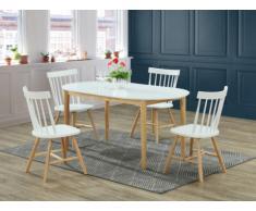 Set tavolo + 4 sedie ELVINE - Legno di Hevea e MDF - Bianco e naturale