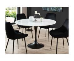 Tavolo da pranzo rotondo 4 posti in Marmo e Metallo Bianco e nero - NORAH