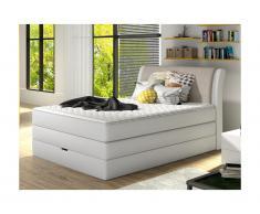 Set letto boxspring testata + base del letto con contenitore + materasso + topper GRANDIOSE di DREAMEA - tessuto grigio chiaro - 140 x 200 cm