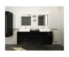 Set Mobili bagno sospesi doppio lavabo e specchi Nero - LAVITA II