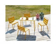 Sala da pranzo da giardino per bambini un tavolo e 4 sedie impilabili in Metallo Giallo - POPAYAN