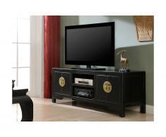 Mobile TV FOSHAN - 4 porte e 2 nicchie - Legno d'olmo - Nero