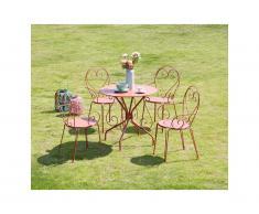 Sala da pranzo da giardino in metallo effetto ferro battuto GUERMANTES: un tavolo e 4 sedie colore terracotta