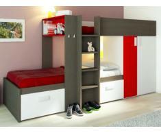 Letto a castello JULIEN - 2x90x190 cm - Armadio integrato - Taupe e rosso