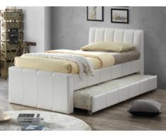 Letto singolo con letto estraibile 2 x 90 x 190 cm in Similpelle bianco - ANDREA