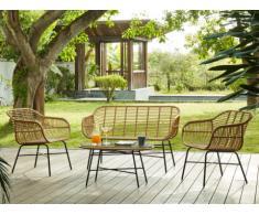 Salotto da giardino NOSARA in resina intrecciata beige: un divano 2 posti, 2 poltrone e un tavolino - Seduta nera
