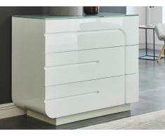 Comò BRADY - 3 cassetti - MDF laccato bianco e vetro temperato