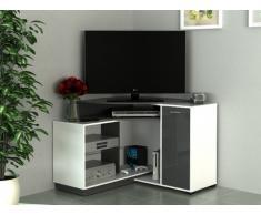 Mobile TV angolare AMAEL con scomparti portaoggetti - Colore bianco e antracite