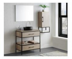 Set bagno YAMINA: mobile sotto lavabo + lavabo + specchio + mobile alto effetto legno