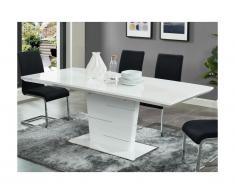 Tavolo da pranzo allungabile da 6 a 8 coperti MDF laccato Bianco - AMELLE