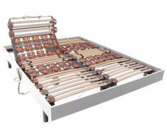 Rete relax doghe e 2x25 sospensioni deco in legno bianco di DREAMEA - 2 x 80 x 200 cm - Motori OKIN
