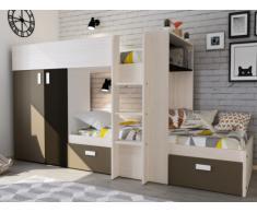 Letto a castello JULIEN - 2x90x190 cm - Armadio integrato - Bianco e marrone