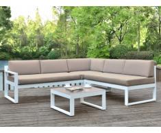 Salotto da giardino PALAOS - Tavolino e divano angolare con schienale reclinabile 6 posti - Taupe