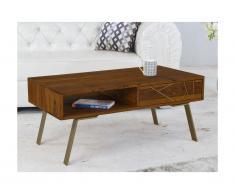 Tavolino rettangolare con cassetto e nicchia in Legno di Sheesham e metallo dorato - ORPHEA