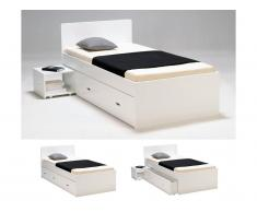 Letto con comodino e cassetto 90 x 190 cm Laccato bianco - PACOME