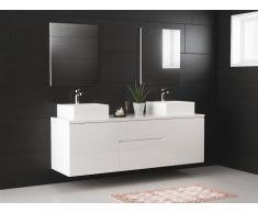Set per bagno JIMENA sospeso con doppio lavabo e specchi - bianco