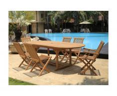 Sala da pranzo da giardino BYBLOS - Teak: 1 tavolo allungabile L180/240cm + 2 poltrone + 4 sedie
