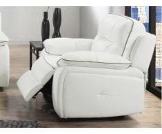 Poltrona relax elettrica in pelle CATANE - Bianco e profilo grigio