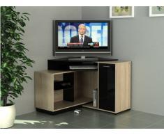 Mobile TV angolare AMAEL con scomparti portaoggetti - Colore quercia e nero