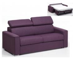Divano letto a 3 posti a ribalta in tessuto VIZIR - Viola - letto 140 cm