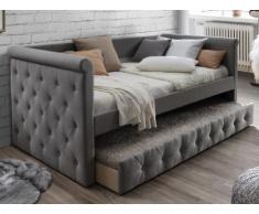 Letto singolo con letto estraibile capitonné 2 x 90 x 190 cm in tessuto grigio - LOUISE