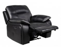 Poltrona relax elettrica in pelle CATANE - Nero e profilo grigio chiaro