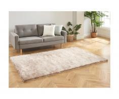 Tappeto shaggy DOLCE Tortora con riflessi beige - Poliestere - 160 x 230 cm
