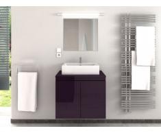 Mobile per il bagno LAVITA II sospeso con lavabo semplice e specchio - Prugna