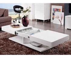 Tavolino ARAMIS con scomparti - MDF laccato bianco