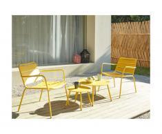 Salotto da giardino in metallo: 2 poltrone basse impilabili e tavoli a scomparsa Giallo - MIRMANDE