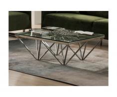 Tavolino quadrato in Vetro temperato e acciaio inossidabile - MELKIOR