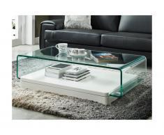 Tavolino GLOSSIE - Vetro curvo e MDF laccato bianco