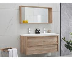 Set mobile bagno con doppio lavabo e specchio effetto Legno 120 cm - QUADRA