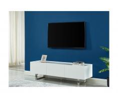 Mobile TV con 2 ante e 2 cassetti in MDF, Ceramica e Metallo Bianco - AZIMA