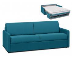 Divano-letto a ribalta 4 posti in tessuto CALIFE - Turchese - Letto 160 cm - Materasso 14 cm
